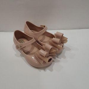 Pale pink triple bow mini melissa flats